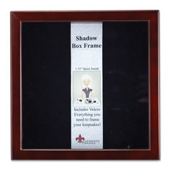 """Lawrence Frames - Espresso Wood Shadow Box 8x8 Picture Frame - This high quality wood shadow box frame comes with everything you need to create the perfect memory box.  With 1.75"""" of space inside (between the glass and felt display board), you will have plenty of room to add treasured items, photos, and clippings.  A self adhesive hook and loop strip is included that can be cut and placed anywhere you wish on the black felt inner lining.  This beautiful shadow box frame is constructed with quality in mind and is joined in the corners with a """"spline"""" joint for years of enjoyment.  The molding is approximately 3 4 """" wide, and 2 5 8"""" deep.  This shadow box frame comes individually boxed, and includes high quality black wood backing.  These display boxes can stand on their own for tabletop display, or can be displayed on the wall with included hangers for vertical or horizontal wall mounting."""