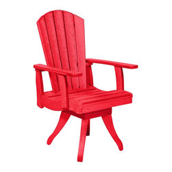 C.R. Plastic Products - C.R. Plastics Dining Arm Swivel Chair In Red - C.R. Plastics Dining Arm Swivel Chair In Red