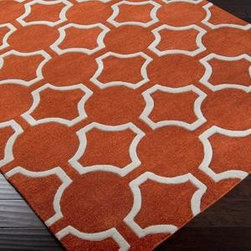 """Surya - Surya Zuna ZUN-1041 3'3"""" x 5'3"""" Pumpkin, Cream Rug - Jill Rosenwald, a top designer in handmade ceramics, has established a partnership with Surya to develop rugs with her own unique style. Her designs are known for her """"stylish sensibility"""" where popular colors and natural design elements merge."""