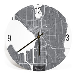 ArtnWalls - SEATTLE, WASHINGTON, MAP ART Wall Clock - Unique Contemporary Art Wall clock, 16 - Abstract SEATTLE, WASHINGTON, map art - Features the streets of the Emerald City.