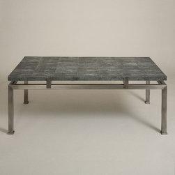 Trevor Shagreen Coffee Table - Black Shagreen top on metal base. Pewter Plating