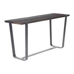 Reclamation Company - Mulberry Console Table, Oak, Clear Lacquer, Metal Base, Ground Steel - The Mulberry features wood top panels with subtle beveled edges set into industrial frames.  Because this is a unique handmade piece, please allow a 4 to 6 week lead time. Note: Please use the swatch image for an indication of the wood and finish options.