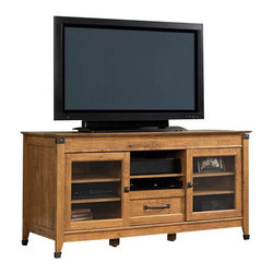 Sauder - Sauder Registry Row TV Credenza in Amber Pine Finish - Sauder - TV Stands - 412312 - At home in any environment the classic Registry Row Collection from Sauder Woodworking is an inspired reworking of heritage styles from Industrial Age America. The warm Amber Pine finish recalls the unique character and color of recovered native timber. Riveted Iron finish accents and matching hardware complete the rustic look
