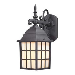 Design - Design Outdoor Lanterns. Wall-Mount 1-Light 14.75 in. Outdoor Black Traditional - Shop for Lighting & Fans at The Home Depot. This traditional outdoor wall light features classic scrolls with honey glass panels. Illuminate your home with style with this charming lantern. This wall light takes one 100 watt bulb (not included).