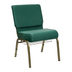 Flash Furniture - Hercules Dot Patterned Church Chair - Set of - Set of 2. 4 in. thick waterfall edge seat. Fabric upholstery. Rear book pouch. Book rack with communion cup holder. Ganging clamps attach chairs together. 16 gauge steel frame. Plastic rocker glides. Easy to move and store. Warranty: 2 year limited. Made from steel and plastic. Gold vein frame finish. Minimal assembly required. Weight Capacity: 800 lbs.. Back: 21 in. W x 16.5 in. H. Seat: 21 in. W x 18.5 in. D. Seat Height: 19 in.. Overall: 21 in. W x 24.75 in. D x 33 in. H (27 lbs.)