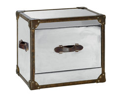 Kathy Kuo Home - Laurence British Industrial Silver Brown Leather Side Table - Taking its cue from a gleaming bank vault, this little-yet-mighty side table is on lockdown 24-7. With indestructible steel construction, stylish riveting, and leather lining the edges, you'll feel safe storing anything precious inside this sturdy fellow. One large drawer is plenty to capture it all.