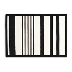 Black, Grey & White Stripe Custom Placemat Set - Class up your table's act with a set of Tailored Placemats finished with a contemporary contrast border. So pretty you'll want to leave them out well beyond dinner time! We love it in this white, black and gray outdoor stripe that's just hankering for those wide open spaces.