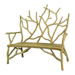 Currey and Company - Currey and Company Elwynn Contemporary / Modern Bench X-9002 - A captivating faux bois bench appears to be a rooted, sprouting tree, growing up from the ground. This heavy concrete bench makes a fantastic edition to a garden or other outdoor/indoor space. The small Elwyn Bench looks fantastic with the large Elwyn Bench and Elwyn Chair.