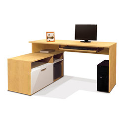 """Bestar - Modula L-Shaped Workstation in Secret Maple & White - Modula L-shaped desk is perfect for small spaces. This compact workstation will give a modern look to your work environment. Durable 3/4"""" commercial grade work surfaces with melamine finish that resist scratches, stains and wears. The desk offers two shelves one of which is adjustable and one file drawer with letter/legal filing system. File drawer and keyboard shelf are on ball-bearing slides for smooth and quiet operation. Fully reversible unit. Also available in Tuxedo.; Color: Secret Maple & White; Dimensions: 59.5""""L x 45.75""""W x 30.1""""H"""