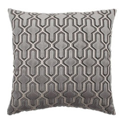 """Z Gallerie - Delancy Pillow 24"""" - For the ultimate in opulence, add our luxurious, richly colored Delancy Pillow to furniture pieces to ensure an elegant look. Plush velvet in deep grey with a complement of white is cut away between the colors to create a raised design. Generously sized at 24 inches square, the pillow contains a sumptuous feather insert."""