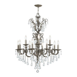 Crystorama - Crystal Twelve Light Up Lighting Two Tier Chandelier - The Mirabella Collection offers unique timeless designs that are small and compact enough to fit in the tiniest of spaces. With a variety of finishes and a range of crystal options to choose from, you can mix and match to coordinate with any decor.
