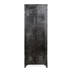 Motor City Industrial Style Locker Cabinet - Reminiscent of tool lockers from way back, the Motor City Industrial Style Locker Cabinet is constructed from natural unfinished steel, and features 3 interior shelves.