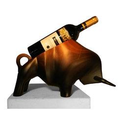 Wood Sculpture - Bull Bottle - -Handmade by artisans in Chile