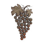 """BZBZ20245 - Weathered Metal Grape Wall Decor - Weathered Metal Grape Wall Decor. Bring some life into your home and accentuate the colors of your interiors with this beautifully crafted metal grape wall decor. The metal grape wall decor comes in dimensions of 19 """"W x 3"""" D x 36 """"H. Some assembly may be required."""
