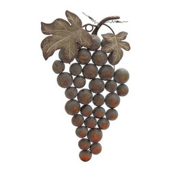 "BZBZ20245 - Weathered Metal Grape Wall Decor - Weathered Metal Grape Wall Decor. Bring some life into your home and accentuate the colors of your interiors with this beautifully crafted metal grape wall decor. The metal grape wall decor comes in dimensions of 19 ""W x 3"" D x 36 ""H. Some assembly may be required."