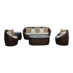 LexMod - Coconut Grove Outdoor Wicker Patio 5 Piece Sofa Set - Powerful energy resonates to yield a pleasant countenance with the Coconut Grove Modern Outdoor Living Set. Open still secured levels while circumventing limitations as you stay focused on small measures of delight. Naturally sweeten your environment while unwrapping new levels of connectivity and meaning.
