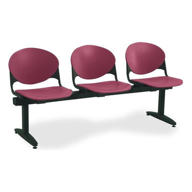 KFI Seating - Freestanding Armless Beam Chair w 3 Seats & B - Color: Navy Blue3-Seat beam. Made of 15 gauge steel sandtex frame, powder-coated in black. High impact polypropylene seat and back. Injection aluminum alloy back supports. Free standing with adjustable glides. Great for waiting rooms and common areas. Pictured in Burgundy. 71 in. W x 22 in. D x 31 in. H