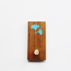 Modern Coat Hook or Key Hanger in Mid Century Style by MOD-RAK - Mid century modern style coat hook or key hanger made of reclaimed walnut with a blue ginkgo leaf. This piece features a poplar hardwood hook and a double keyhole hanger for sturdy support.