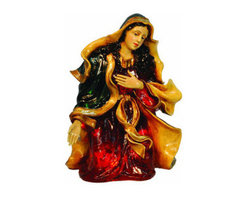 Christmas Nativity Set - Virgin Mary - Start your own Nativity scene with a Mary figure. This Christmas decoration is illuminated from within by clear, incandescent Christmas mini lights. The Mary figure stands 1 foot, 10 inches tall and 15.5 inches wide with luxurious, warm, and fade resistant colors. Suitable for indoor or outdoor use, the chip resistant fiberglass construction makes it ideal to stand in both commercial and home Christmas displays. With proper storage, this figure will last for generations to come.