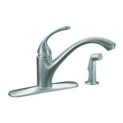 KOHLER - KOHLER K-10412-G Forte Single-Control Kitchen Sink Faucet - KOHLER K-10412-G Forte Single-Control Kitchen Sink Faucet with Sidespray and Lever Handle in Brushed Chrome