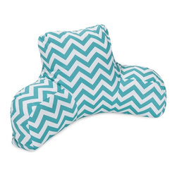 Majestic Home Goods - Teal Chevron Reading Pillow - Now you can kick back and relax anywhere, inside or out, with this comfortable and supportive reading pillow. The Majestic Home Goods indoor/outdoor Chevron reading pillow provides back and head support that is perfect for many activities such as reading, working on your laptop or lounging with friends. Stuffed with a super loft recycled polyester fiber fill, the reading pillows zippered slipcover is woven from Outdoor Treated polyester and has up to 1000 hours of U.V. protection.  Spot clean slipcover with mild detergent and hang dry. Do not wash insert.