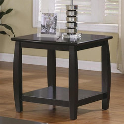 Coaster - Marina End Table W Bottom Shelf - Contemporary style. Square shape. Bowed legs. One bottom shelf. Rounded edges top. Made from wood. Cappuccino finish. 23.5 in. W x 23.5 in. D x 24 in. H. WarrantyAccent your upholstered chair with the relaxed contemporary styling of this end table. While the shelf offers space for books, TV remote controls, or even decorative items. Invite personal flair into your home by displaying a uniquely designed reading lamp and a favorite family picture on the surface. Arrange this chair side table with the matching sofa table and cocktail table for a cohesive living room look.