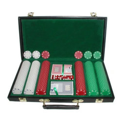 Trademark Global - 300 Pc Suited Chips Set with Vinyl Carrying C - Includes Poker chips case, 300 Chips, 5 set of Dice and 2 Decks of Playing Cards. Chips are 39 mm. Dia. casino-sized chips and are 11.5 g. in weight. 16.5 in. L x 10 in. W x 3 in. H (12 lbs.)Chips are produced from a composite resin and an insert that gives them the weight feel of a heavy casino quality chip. The detail on these chips is great. The card suits around the chip as well as the detail spots on the edge of the chip add to the great appearance. Playing cards depicted are subject to change without notice. It is at our discretion to replace playing cards with a similar product of equal or higher quality at any time.