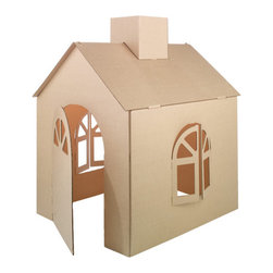 Cardboard Playhouse - Rather than painting or coloring with markers, this playhouse comes complete with reusable decals so that you can decorate it and change it around as much as you like.
