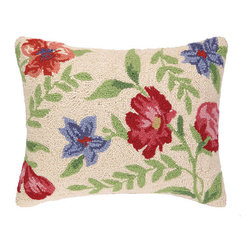 Marinela Flowers Hooked Pillow - Reds, Blues, Greens on Cream - Pretty bright cheerful hooked pillow. Great for any decor.  14 x 18