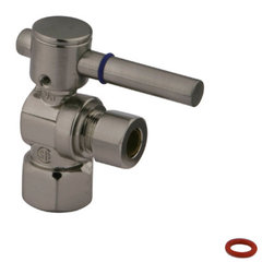 "Kingston Brass - Angle Stop with 1/2"" IPS x 3/8"" OD Compression - The 1/4-turn angle stop valve features a sleek cylindrical lever which controls the movement of water through and from plumbing fixtures. The valve is made of solid brass built for durability and dependability and also comes in a variety of finishes to better coordinate your kitchen/bathroom.; 1/4-Turn Angle Stop; 1/2"" IPS x 3/8"" OD Compression; Contemporary Design; High Quality Brass Construction; Premier Finish Lever Handle; Material: Brass; Finish: Satin Nickel Finish; Collection: Concord"