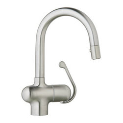 """Grohe - Grohe 32256SD0 Stainless Steel Ladylux Pro Ladylux Pro Pull-Down Prep - Product Features:  Stainless steel faucet body construction ensures durability for a lifetime Covered under Grohe s limited lifetime warranty Grohe faucets are exclusively engineered in Germany Finishes will resist corrosion and tarnishing through everyday use - finish covered under lifetime warranty Grohe kitchen faucets will surprise and delight the user with every interaction The perfect synthesis of form and function Single handle operation Pullout spray faucet head enhances faucet s versatility Spout swivels 360-degrees providing greater access to more areas of the sink High-arch gooseneck spout design provides optimal room under the faucet for any size task ADA compliant Low lead compliant - meeting federal and state regulations for lead content  Product Technologies / Benefits:  SilkMove Cartridge: The rich and smooth handling of our single lever faucets conveys pure quality. As you change the temperature from hot to cold, one ceramic disc glides effortlessly across the other with absolute precision. These cartridges are manufactured in a high-tech process and feature discs made from a space-proven ceramic alloy. The SilkMove cartridge is yet another example of design and technology fusing to bring you an enhanced water experience. QuickFix Plus: Precision engineering has enabled Grohe to simplify the installation process by reducing the complexity and number of parts required to fit a product. This installer-focused technology can reduce installation times by up to 50%, saving both time and money.  Product Specifications:  Overall Height: 13-1/4"""" (measured from counter top to highest point on faucet) Spout Height: 7-3/8"""" (measured from counter top to spout outlet)"""