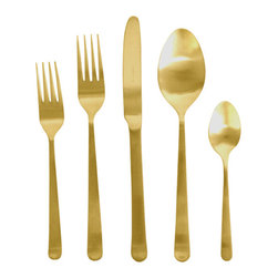 Canvas Home - Oslo Cutlery Set - 5 Piece Set, Gold - Oslo Stainless Steel Flatware set is perfect in either black, gold or stainless steel for any kitchen gift or to keep for yourself! 5 piece set.