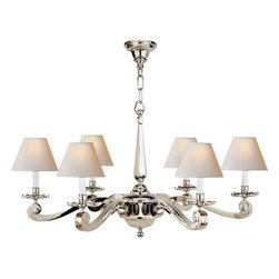 Myrna Chandelier - Light up your dining room or entryway with an elegant chandelier of polished nickel and natural shades. The traditional design hangs beautifully, up to six feet, and casts soft glow of diffused light. It's the perfect choice for a traditional home.