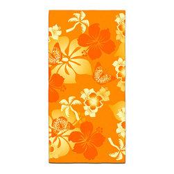 "Eco Friendly Hawaiian ""Aloha Orange"" Bath Towel - Our Bath/Beach Towels are made of a super soft poly fiber fabric with 2mm pile."
