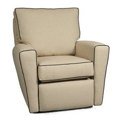 Little Castle Monaco Recliner - Lexington with Black Piping - The Little Castle Monaco Recliner - Lexington with Black Piping is the perfect addition to any nursery. This excessively comfortable glider features luxurious padding all over the backs and arms, so you're always comfortable. The smooth reclining mechanism is easy to use, while the 360-degree swivel allows great mobility.About Little CastleLittle Castle Furniture Company specializes in upholstered swivel gliders designed to lull babies to sleep with a smooth gliding motion. Little Castle chairs and gliders feature taller backs to support your head and neck during those late-night feedings, as well as higher armrests to support your arm while nursing. Their gliders are ideal for your baby nursery, but they can easily transition into a family room setting when your child grows older. In addition to swivel gliders, Little Castle manufactures a full line of children's upholstered furniture designed to suit children 3 to 13 years old.