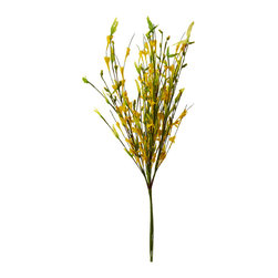 Shea's Wildflowers Company - Forsythia Bush Décor - Enjoy the beauty of nature year-round with this stunning forsythia bush décor. It breathes freshness into any room on the mantelpiece, while it adds a gorgeous pop of color to a hand-crafted bouquet.   18'' H Poly silk / foam Imported