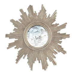 "Worlds Away - Worlds Away Versailles Starburst Mirror-Available in Two Different Colors, Silve - This lovely small hand carved mirror features a French starburst design and is available in an umber gold leaf finish or silver leaf finish. The center mirror is antiqued. It measures 24"" in diameter X 2"" deep."