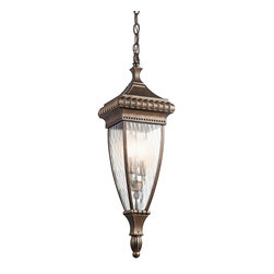 KICHLER - KICHLER Venetian Rain Traditional Outdoor Hanging Light X-ZRB43194 - From the Venetian Rain Collection, ornate trim and beadwork with traditional influencing are accentuated by an elegant Bronze finish. This Kichler Lighting outdoor hanging light features a visually stunning vertical rain glass to complete the look.