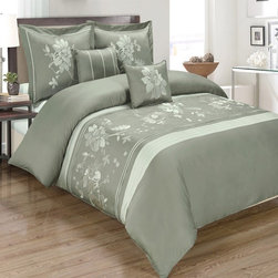 Royal Tradition - R-T Duvet Cover-Embroidered 100% Cotton- Myra Gray - This Myra Gray Duvet Cover Set is made of beautifully embroidered 100% cotton in rich colors.  The duvet has self piping (four sides) and has a hidden zipper closure by the foot.