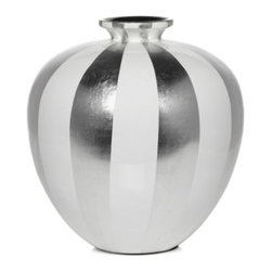 """Z Gallerie - Raya Vase - 14.5""""H - Take a bold, definitive stand on creating stylish decor by giving our fashionable Raya Vase a place of importance in a room. Available exclusively at Z Gallerie, the large rounded vase is handcrafted of sustainable lightweight bamboo and finished with a glossy lacquer of broad silver and white stripes. Suggested for use with decorative flowers or foliage only."""