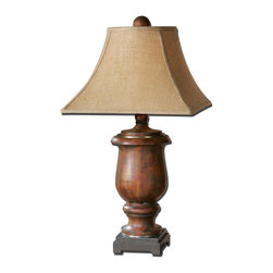 Uttermost - Uttermost Kezia Wood Table Lamp 26538 - Distressed cinnamon colored wood finished in a light verdigris glaze with champagne silver accents. The round top, square bottom shade is a coarse weave burlap fabric.