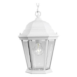 Progress Lighting - Progress Lighting Welbourne Traditional Outdoor Hanging Lantern X-03-2855P - Progress Lighting Welbourne Traditional Outdoor Hanging Lantern comes with a Clear, Beveled glass shade and is finished in a pure white. This is a nice decorative outdoor lantern that will provide you with a bright illumination and still adds style with its look.