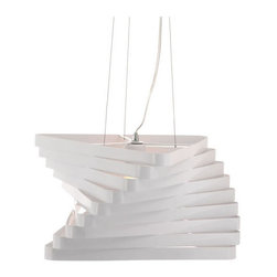 ZUO PURE - Millennia Ceiling Lamp White - A triangular twisted sculpture of modern design. The Millennia ceiling lamp is painted steel that is adjustable for that perfect height. The lamp is UL approved.