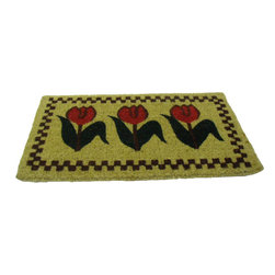 "CocoMatsNMore - Tulips Coco Coir Doormats - 18"" X 30"" - Eco-friendly Coco Mat are hand-woven and  made from 100% natural coir . These coco doormats are designed to last for a long time and are easy to maintain and clean by either shaking or hosing it down. Designed with fade-resistant dyes they are durable enough to withstand the harshness of weather and look good througout the year. Furthermore, they keep your house clean by doing a fabulous job of trapping the dirt, mud and debris right at the doorstep."