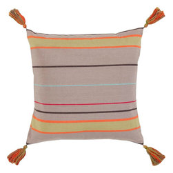 "Surya - Surya SS-001 Stripe And Tassel Pillow, 22"" x 22"", Down Feather Filler - Add a twist on classic stripes to your space with this perfect pillow! Featuring a classic multicolored stripe pattern with tantalizing tassel add-ons, this piece will fashion a fresh, modern look that translates from room to room within your home. This pillow contains a zipper closure and provides a reliable and affordable solution to updating your home's decor. Genuinely faultless in aspects of construction and style, this piece embodies impeccable artistry while maintaining principles of affordability and durable design, making it the ideal accent for your decor."
