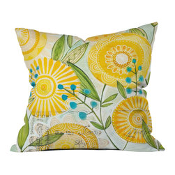 DENY Designs - Cori Dantini Sun Burst Flowers Throw Pillow - Wanna transform a serious room into a fun, inviting space? Looking to complete a room full of solids with a unique print? Need to add a pop of color to your dull, lackluster space? Accomplish all of the above with one simple, yet powerful home accessory we like to call the DENY throw pillow collection! Custom printed in the USA for every order.