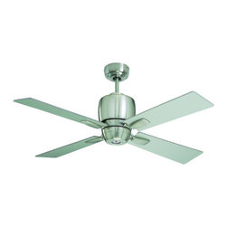 "Emerson - Emerson CF230BS 46"" Veloce 4 Blade Indoor Ceiling Fan - Remote Control, Blades a - Emerson CF230BS 46"" Indoor Ceiling Fan from the Veloce CollectionSleek, simple, and modern, Veloce will enhance the look and style of any d�cor. This smartly styled 42"" fan includes four stylish reversible rectangular blades featuring Brushed Steel and Chocolate finishes on either side. A matching integrated light kit is included with an included 50 Watt MR-16 Halogen bulb (a no-light plate is available if desired). Easily convert this fan into a semi-flush fixture by omitting the included 4.5"" downrod. Finally, this fan comes standard with a remote control and limited lifetime motor warranty, making the Veloce a simple and worry-free choice for your home.Emerson CF230BS Features:"