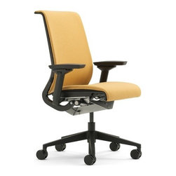 "Steelcase - Think Mid-Back Upholstered Office Chair - The chair with brain and conscience.Think® is chair intelligent enough to understand how you sit, and adjust itself intuitively. It's thoughtful enough to measure, and minimize, its lifelong impact on environment. It's almost as if chair could Think. Left to their own devices, an engineer, designer and pair of environmentalists might each create very different chair. But Think® is brainchild of all three disciplines. It has clean, sophisticated aesthetic designer hoped for, technological ""intuitiveness"" engineer desired and complete sustainability environmentalists sought. Think® chair is simplest, most streamlined embodiment of our deep understanding of people who sit, and how they sit throughout day. Think® has raised bar for all chairs follow in its wheels. WHY BUY FROM US? -We stand behind our 100% Price-match Guarantee on all Steelcase chairs. -We are an authorized Steelcase retailer and can offer you complete Steelcase lifetime. If you have any problem with your Think® chair and need work done, Steelcase will cover costs. Steelcase is proud to stand behind their products. -Looking to make large purchase? We make volume discounts possible! Don't hesitate to give us call. -You'll never pay sales tax*!.* Except in Massachusetts, Kentucky and Utah. FEATURES -Fabric seat and inner back. -Innovative back and seat ""flexors"" track with your natural movements and provide optimum support for spine and pelvis by responding intuitively. -Translucent 3D Knit material shows back flexors from both sides of chair. -3D Knit mesh is softer to touch than traditional mesh chairs. -Clean, streamlined design. -Recline support customized to your body weight. -Flexible seat edge relieves pressure on back of legs. -Adjustable seat depth. -5"" Pneumatic adjustable seat height. -Environmentally safe, 99% of chair is recyclable. -Tested for up to 300 lbs. -Shipped ready to assemble in about 5 minutes: attach back to seat with two screws and provided tool. -Recipient of numerous awards including Business Week Gold Industrial Design Excellence Award (IDEA) in 2006 for design, functionality, and innovation as well as Red Dot Award winner for product design, selected from among more than 4,000 entries from 40 countries. -Shipped ready to assemble in about 5 minutes: attach back to seat with two screws and provided tool. Please Note: Use of standard carpet casters on hard surfaces, including floor mats, will affect chair stability and may result in personal injury. ERGONOMIC FUNCTIONS a. Your Profile Seat and BackBack flexors track with individual movement of your spine and pelvis. back flexors are individually shaped to human form to provide optimum support for each area of back. Seat flexors conform to your shape, providing dynamic comfort pocket.b. Your Power MechanismThe Your Power Mechanism moves as fluidly as human body does. It provides recline support in proportion to your own body weight, while keeping you oriented to your work.c. Height, Depth, Width, and Pivot ArmsArms telescope in and out, move forward and back, pivot and adjust up and down so you can find natural position comfortably supports wrists, forearms, shoulders and neck.d. Flexible Seat EdgeWhen you recline or lean forward, seat edge flexes to relieve pressure on back of legs.e. Your Preference ControlThe Your Preference Control combines four comfort settings into one simple dial. Select your favorite setting: weight activated, weight activated with at 20% boost"