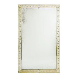 Extra Large Venetian Mirror - Ah, the elegant, romantic ambiance of Venice. If that's what floats your boat, then we have just the thing for you. This exquisite mirror features a handmade and antiqued frame that is inspired by Venetian Art Deco. Its large scale adds a dimension of versatility, enabling you to hang it vertically or rest it against a wall and still make a powerful yet tasteful design statement. Since it is handmade, the finish of the Venetian-style glass varies.