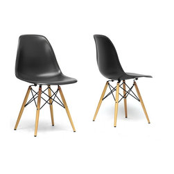 Wholesale Interiors - Azzo Black Plastic Mid-Century Modern Shell Chairs, Set of 2 - The retro simplicity of this classic black modern shell chair will instantly enhance the modernity of your room. Each of these mid-century modern dining chairs is made from durable molded plastic with an ergonomically-shaped and curved seat. The legs are wooden and include steel hardware in black as well as black plastic tips to protect sensitive flooring. To clean, wipe with a damp cloth. This item is made in China, and assembly is required. This item is also available in black, red, or white arm chairs or side chairs (each sold separately). Dimensions: 18.44 inches in Wide X 16 inches in Deep X 32.44 inches in Height, seat height: 17.5 inches.